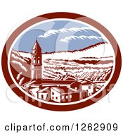 Clipart Of A Retro Woodcut View Of The Church Belfry Tower In Tuscany Italy Royalty Free Vector Illustration