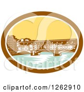 Clipart Of A Retro Woodcut View Of The Arch Bridge Of Ponte Vecchio In Florence Firenze Italy Royalty Free Vector Illustration