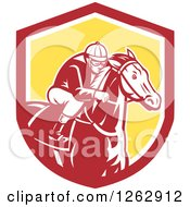 Clipart Of A Retro Racing Jockey In A Red White And Yellow Shield Royalty Free Vector Illustration by patrimonio