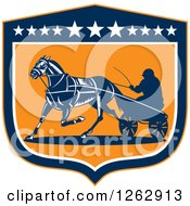 Clipart Of A Retro Man Horse Harness Racing In A Blue White And Orange Shield Royalty Free Vector Illustration