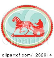 Clipart Of A Retro Man Horse Harness Racing In An Oval Royalty Free Vector Illustration