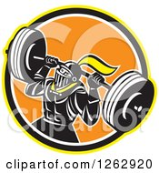 Clipart Of A Retro Muscular Knight Doing Squats And Working Out With A Barbell In A Yellow Black White And Orange Circle Royalty Free Vector Illustration