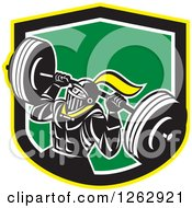 Clipart Of A Retro Muscular Knight Doing Squats And Working Out With A Barbell In A Yellow Black White And Green Shield Royalty Free Vector Illustration