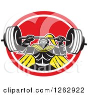 Clipart Of A Retro Muscular Knight Doing Squats And Working Out With A Barbell In A Red And White Oval Royalty Free Vector Illustration