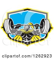 Clipart Of A Retro Muscular Knight Doing Squats And Working Out With A Barbell In A Yellow Black White And Blue Shield Royalty Free Vector Illustration
