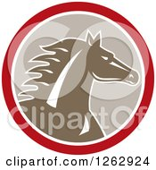Clipart Of A Horse Head In A Red White And Taupe Circle Royalty Free Vector Illustration