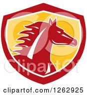 Clipart Of A Horse Head In A Red White And Yellow Shield Royalty Free Vector Illustration