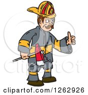 Clipart Of A Cartoon Fireman Holding An Axe And Thumb Up Royalty Free Vector Illustration