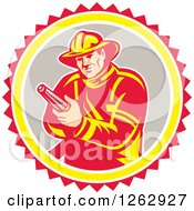 Retro Fireman Holding A Hose In A Yellow Gray White And Red Circle