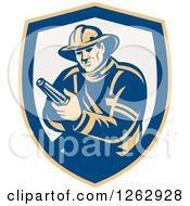 Clipart Of A Retro Fireman Holding A Hose In A Yellow Blue And Taupe Shield Royalty Free Vector Illustration