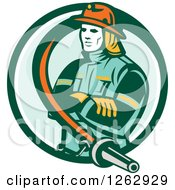 Clipart Of A Retro Fireman Encircled With A Hose In A Green And White Circle Royalty Free Vector Illustration