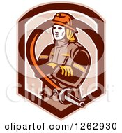 Clipart Of A Retro Fireman Encircled With A Hose In A Brown Shield Royalty Free Vector Illustration