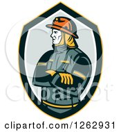 Clipart Of A Retro Fireman With Folded Arms In A Shield Royalty Free Vector Illustration
