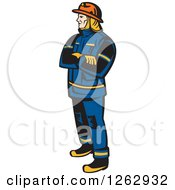 Clipart Of A Retro Fireman Standing With Folded Arms Royalty Free Vector Illustration by patrimonio