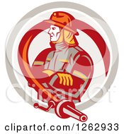 Clipart Of A Retro Fireman Encircled With A Hose In A Circle Royalty Free Vector Illustration by patrimonio