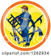 Retro Fireman With Tools And A Hose In An Orange White And Yellow Circle