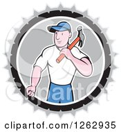 Clipart Of A Retro Cartoon Carpenter With A Hammer In A Gray White And Black Circle Royalty Free Vector Illustration