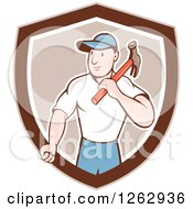 Clipart Of A Retro Cartoon Carpenter With A Hammer In A Brown And White Shield Royalty Free Vector Illustration