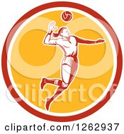 Clipart Of A Retro Woodcut Female Volleyball Player Spiking In A Red White And Yellow Circle Royalty Free Vector Illustration