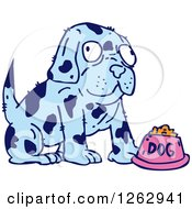 Clipart Of A Blue Spotted Dog With Food Royalty Free Vector Illustration