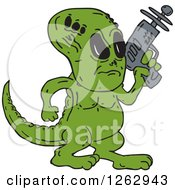 Clipart Of A Green Alien Dinosaur With A Ray Gun Royalty Free Vector Illustration