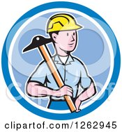 Cartoon Male Engineer Holding A T Square In A Blue Circle