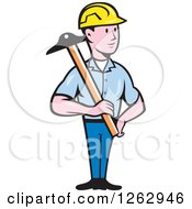 Cartoon Male Engineer Holding A T Square
