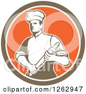 Clipart Of A Retro Male Chef Or Baker Holding A Rolling Pin In A Brown White And Orange Circle Royalty Free Vector Illustration by patrimonio