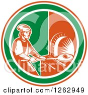 Clipart Of A Retro Woodcut Medieval Baker Putting Bread In A Stone Oven In A Red White And Green Circle Royalty Free Vector Illustration