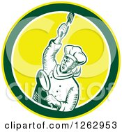 Clipart Of A Retro Woodcut Revolutionary Chef With A Spatula And Frying Pan In A Green White And Yellow Circle Royalty Free Vector Illustration by patrimonio
