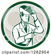 Clipart Of A Retro Male Scientist Welding In A Yellow Green White And Taupe Circle Royalty Free Vector Illustration