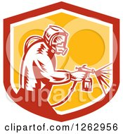 Poster, Art Print Of Retro Woodcut Painter Using A Spray Gun In A Red White And Yellow Shield