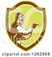 Clipart Of A Retro Woodcut Pest Control Exterminator Spraying In A Brown And Green Shield Royalty Free Vector Illustration