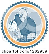 Clipart Of A Retro Male Rugby Player Running In A Blue White And Orange Circle Royalty Free Vector Illustration