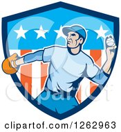 Clipart Of A Male Baseball Player Pitching In An American Shield Royalty Free Vector Illustration