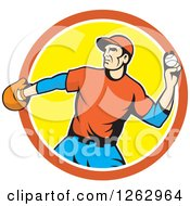Clipart Of A Male Baseball Player Pitching In An Orange White And Yellow Circle Royalty Free Vector Illustration