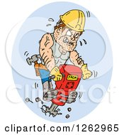 Clipart Of A Cartoon Construction Worker On A Jackhammer Royalty Free Vector Illustration by patrimonio