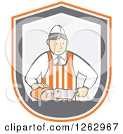 Clipart Of A Retro Cartoon Male Butcher Slicing Ham In An Orange White And Gray Shield Royalty Free Vector Illustration