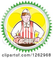 Retro Cartoon Male Butcher Slicing Ham In A Green Gray White And Yellow Circle