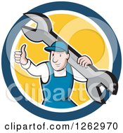 Clipart Of A Cartoon Male Mechanic Holding A Thumb Up And Carrying A Giant Wrench In A Blue White And Yellow Circle Royalty Free Vector Illustration