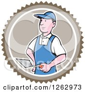 Clipart Of A Cartoon Male Bricklayer With A Trowel In A Brown Circle Royalty Free Vector Illustration