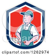Clipart Of A Cartoon Male Bricklayer With A Trowel In A Gray Blue White And Red Shield Royalty Free Vector Illustration