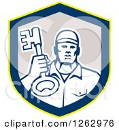 Clipart Of A Retro Male Locksmith Holding Up A Key In A Yellow Blue And Gray Shield Royalty Free Vector Illustration