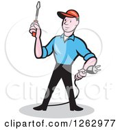 Clipart Of A Cartoon Male Electrician Holding A Scredriver And Plug Royalty Free Vector Illustration by patrimonio