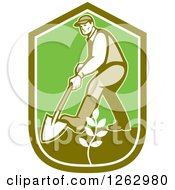 Poster, Art Print Of Retro Male Gardener Digging And Planting In A Green Shield