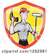 Poster, Art Print Of Cartoon Caucasian Male Handyman With A Paint Roller And Cordless Drill In A Shield