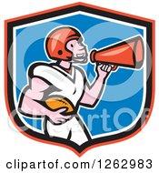 Clipart Of A Cartoon Male American Football Player Announcing With A Megaphone In A Shield Royalty Free Vector Illustration by patrimonio