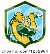 Clipart Of A Retro Woodcut Sandblaster Working In A Yellow Green White And Blue Shield Royalty Free Vector Illustration