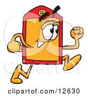 Price Tag Mascot Cartoon Character Running