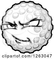 Clipart Of A Tough Golf Ball Mascot Royalty Free Vector Illustration